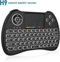 WESOPRO Mini Wireless Keyboard and Touchpad Mouse Combo with Colorful Backlit, H9C 2.4Ghz Colorful Backlit Handle Control for Android TV Box, Windows PC, HTPC, IPTV, Raspberry Pi, Xbox 360, PS3, PS4