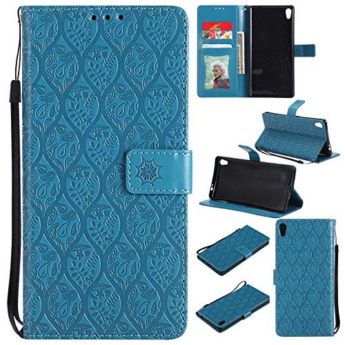 Lomogo [Xperia XA Ultra] Hülle Leder, Schutzhülle Brieftasche mit Kartenfach Klappbar Magnetverschluss Stoßfest Handyhülle Case für Sony Xperia XA Ultra (6,0 Zoll) - LOYYO23131 Blau