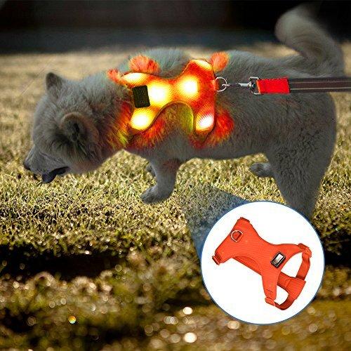 VIZPET Comfort Control Dog Harness LED Pets Walking Accessory USB Rechargeable Soft Mesh Adjustable Belt Collar Padded Lightweight Vest