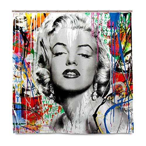 FCZ Marilyn Monroe Duschvorhang, abstrakte Kunst, wasserdicht, Badezimmer-Dekor, beschwertes 100 prozent Polyester, maschinenwaschbar – 152,4 x 183,9 cm mit Haken