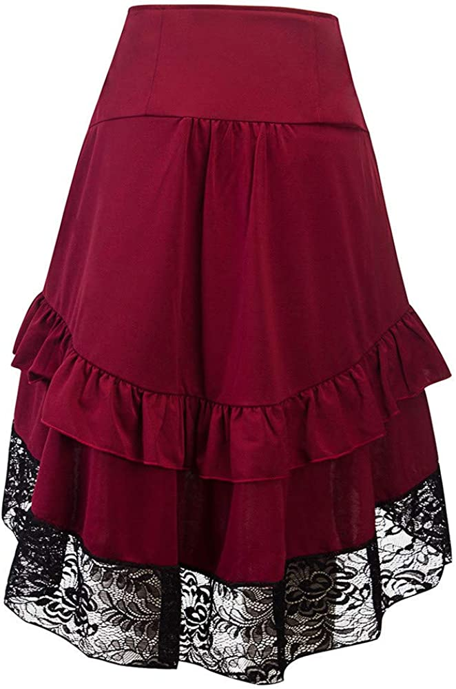 Roumin Ladies Autumn and Winter Retro Stitching Lace Bag Hip Button Skirt