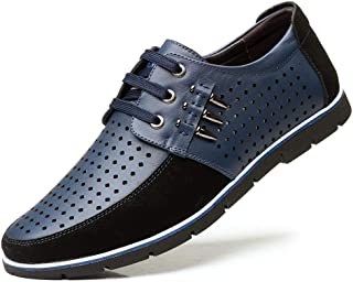 Men's Shoe Leather Oxford Oxford Leisure Fashion Shoes Men's Formal Business Perforated Dress Shoes Lace Up Genuine Leather Round Toe Wear Resistant Classic Breathable Shoes