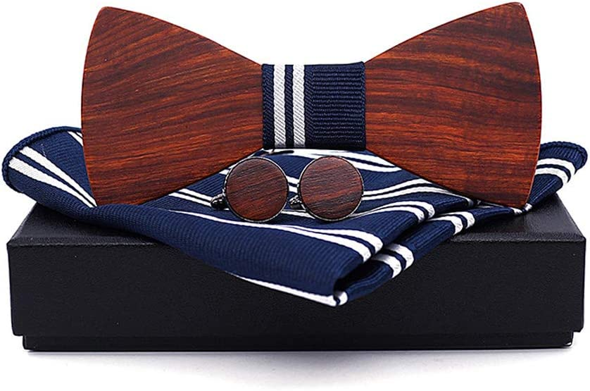 Opled Business Butterfly Suit Tie Men's Women's Wooden Wooden Bow Tie Red Sandalwood Bow Tie (Color : Blue, Size : 59.5cm)