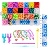 Sunshine smile 4400 Rainbow Loombänder,Gummibänder Starter,Loom Bänder Set,Loombänder für Armbänder,DIY Gummibänder Kinderspielzeug für Geburtstagsgeschenk(groß)