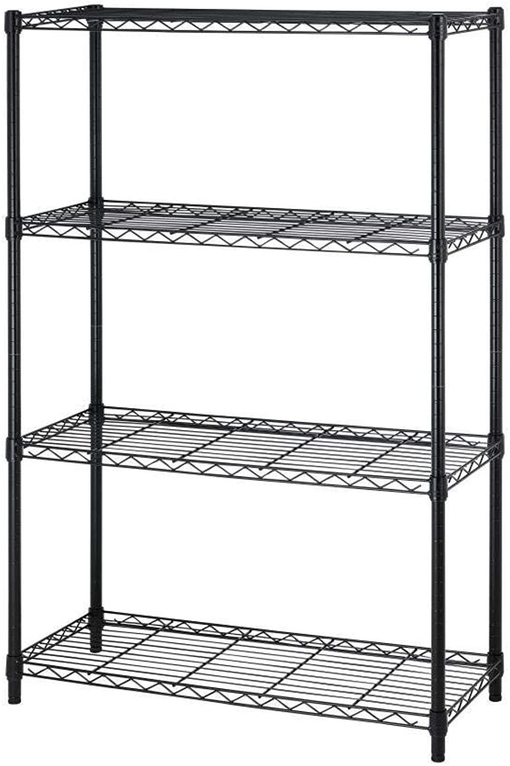 BestOffice Wire Shelving Unit Heavy Duty Metal NSF Organizer Height Adjustable Utility Rolling Steel Commercial Grade Layer Rack for Kitchen Bathroom Office, Black-14 x 36 x 54 (4-Tier)