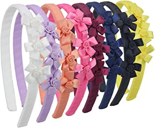 7Rainbows Boutique Grosgrain Ribbon Floral Headbands for Girls Toddlers Teens