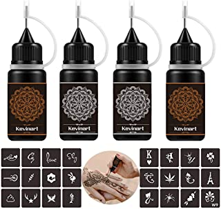 Kevinart Temporary Tattoo Kit, Semi Permanent Tattoo Jagua Freehand Gel/Ink with 24 Free Stencils, DIY Tattoos Fake Freckl...