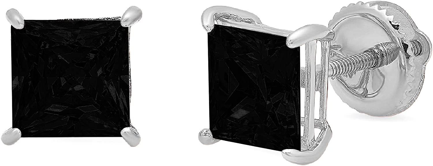 Clara Pucci 2.0 ct Brilliant Princess Cut Solitaire VVS1 Flawless Natural Black Onyx Gemstone Pair of Stud Earrings Solid 18K White Gold Screw Back