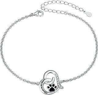 925 Sterling Silver Cute Paw Print Forever Love Heart Pendant Necklace/Bracelet/Stud Earrings Gift for Women Teen Girls, Box Chain 18