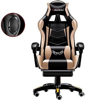 Bradoner Gaming Silla con altavoces Bluetooth, respaldo alto ajustable Silla Silla de juegos Electronic Sports adulto con el reposapiés, Deber ergonómico Oficina Escritorio de la computadora silla bla