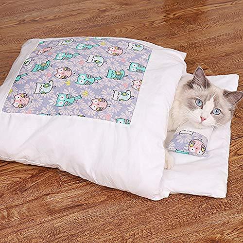 Hingpy Bett für Katze,Winterkatzenschlafsack, Flauschig Geschlossenes, Abnehmbares Und Waschbares Haustiernest, Winterwarmes Haustiernest, Katzenhaus Und Hundehaus
