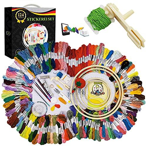 NUHIPE Stickerei-Set - Kreuzstich-Starterset mit Stickgarn in 124 Farben, Leinenstoff, 5 Stickrahmen aus Bambus-Holz & weiterem Zubehör - Tolles Geschenk für Erwachsene - Ideal für Anfänger