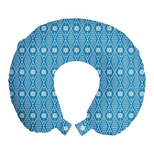 ABAKUHAUS Noruego Cojín de Viaje para Soporte de Cuello, Diamante Copo de Nieve Formas, de Espuma con Memoria Respirable y Cómoda, 30x30 cm, Mar Azul y Blanco