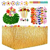 Hawaiian Tropical Party Decorations, Luau Party Pack with 9ft Hawaiian Luau Grass Table Skirt, Hawaiian Leis and Hair Clips, Palm Leaves and Hibiscus Flowers Food Toppers etc.
