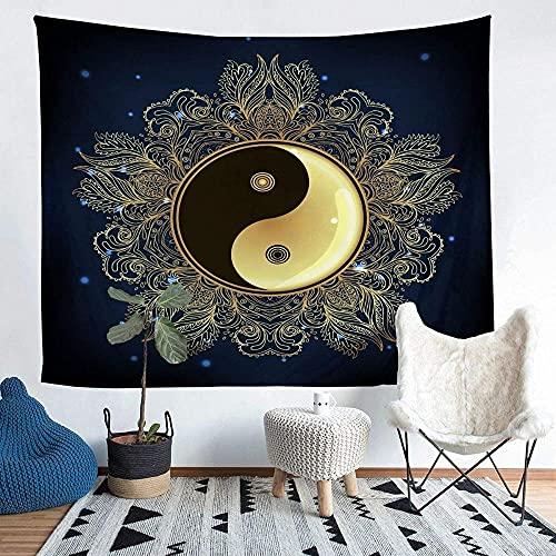 Yhjdcc Yin Yang - Tapiz para colgar en la pared, diseño bohemio, mandala de cachemira, decoración de habitación, decoración de lujo, bohemia, exótica, floral, manta de cama de 152 cm