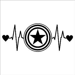 CCI Captain America Love Heartbeat Avengers Marvel Decal Vinyl Sticker|Cars Trucks Vans Walls Laptop| Black |6.5 x 2.5 in|CCI1472