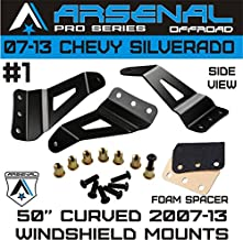 "No.1 2007-2013 Chevy Silverado & GMC Sierra 50"" Straight and Curved LED Light Bar Arsenal Windshield Brackets also fits: GM SUV Chevrolet Avalanche Suburban Tahoe Yukon"