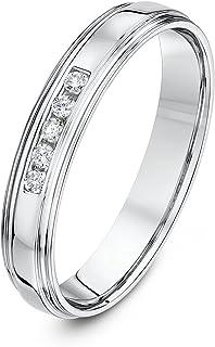 Theia 9 克拉白金宫形 0.1 克拉圆形钻石槽镶 4 毫米婚戒