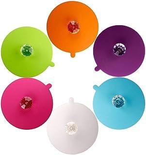 6 Pcs Creative Diamond Mug Cover Silicone Cup Lid Cup Cover Tea Cup Lid Reusable Coffee Mug Seal Lid Cap 4 Styles Anti-dus...