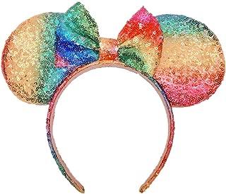 Mouse Ears Bow Headbands Glitter Princess Party Decoration Belle Cinderella Jasmine Mermaid Mouse Ears Headband for Girls (Magic rainbow)