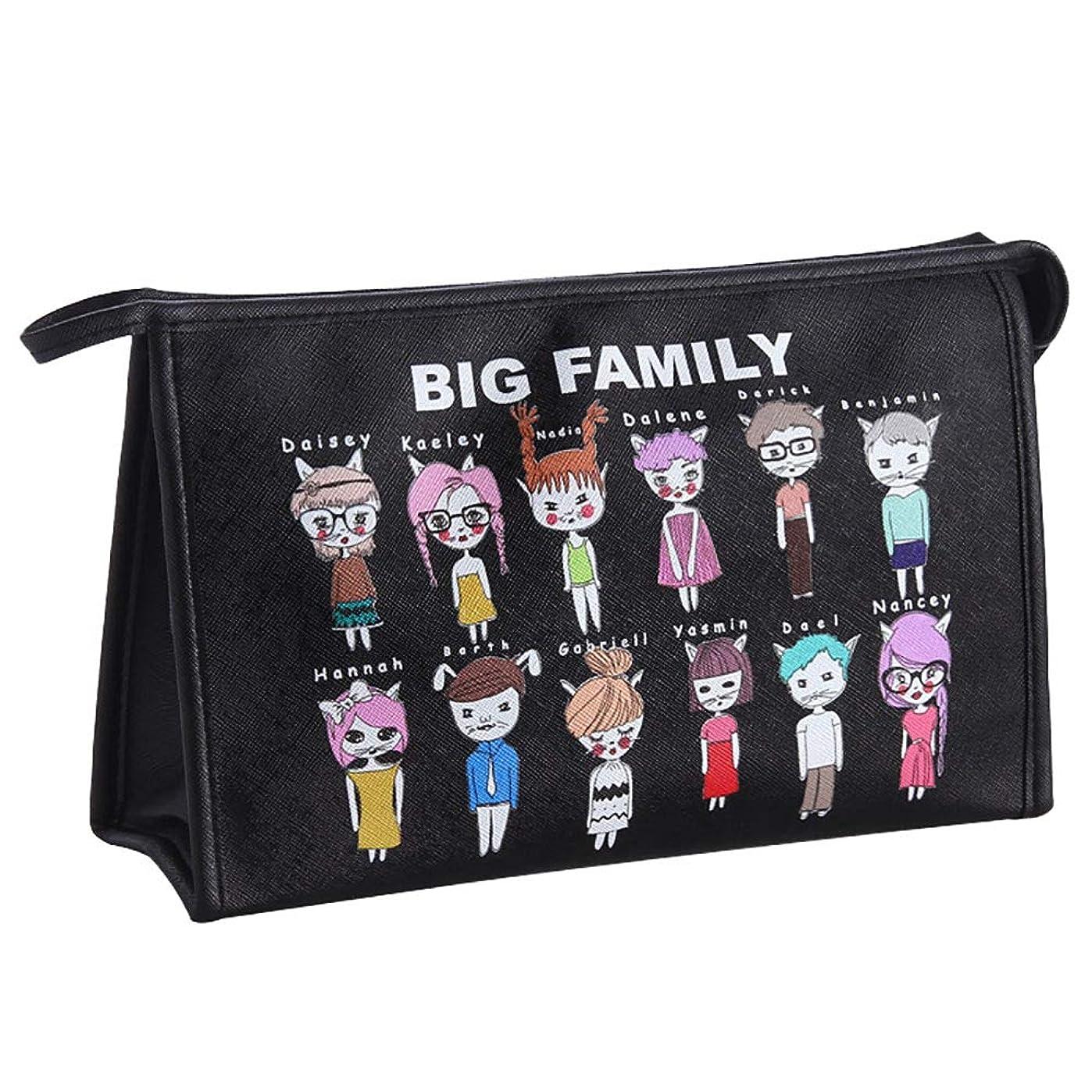 模倣の奪う化粧品バッグ大容量多機能単純な携帯用化粧品袋の収納袋かわいいgirlblack 30 * 9 * 19CM