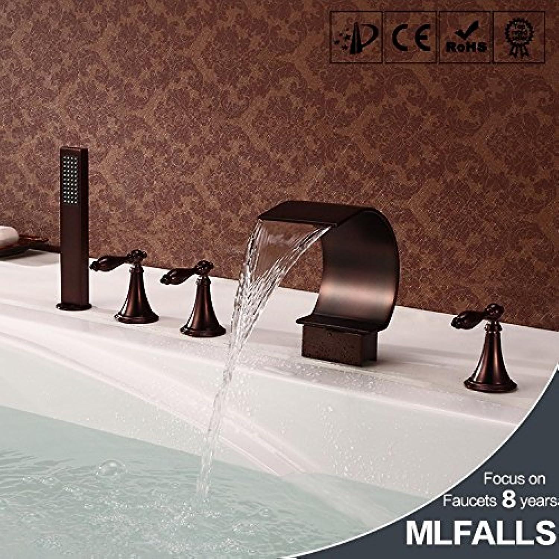 Maifeini  Wasserfall Badewanne Armatur_Orb Schwarz Wasserfall Badewanne Armatur Antik Bronze Dusche
