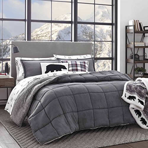 Eddie Bauer Home | Sherwood Collection | Comforter Set-Ultra Soft and Cozy, Sherpa Reversible Bedding with Matching Sham(s), Queen, Grey