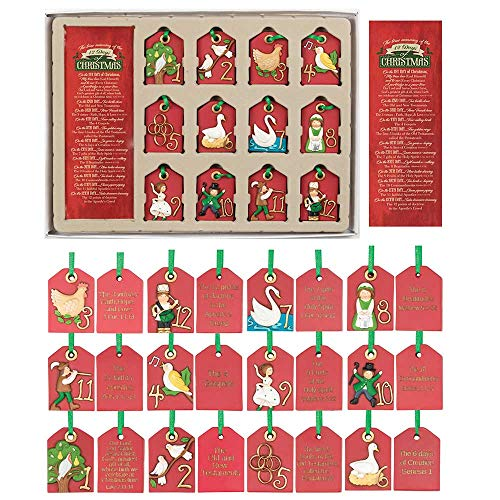 Dicksons 12 Days of Christmas Festive Red 2 x 2 Resin Stone Christmas Ornament Set of 12