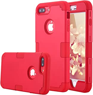iPhone 7 Plus Case, LONTECT Hybrid Heavy Duty Shockproof Full-Body Protective Case with Dual Layer [Hard PC+ Soft Silicone] Impact Protection for Apple iPhone 7 Plus - Red