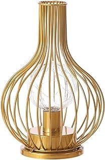 Lámpara de mesa de metal con decantador vintage de alambre de metal, pantalla LED, lámpara de noche, lámpara de lectura, funciona con pilas, para dormitorio, sala de estar (oro, decantador)