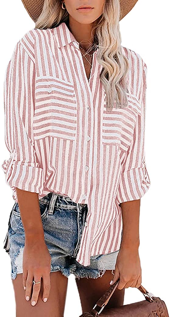 MUMUBREAL Womens Striped Button Down Shirts Roll-up Long Sleeve Tunic Tops Casual V Neck Blouse with Pockets