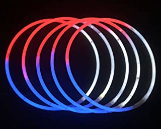 "Glow Sticks Bulk Wholesale Necklaces, 100 22"" Red-White-Blue Glow Stick Necklaces+100 Free Assorted Glow Bracelets! Bright Colors, Glow 8-12 Hrs, Connector Pre-Attached, Sturdy Packaging"