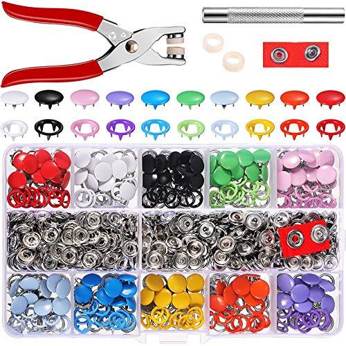 MOOING 200 sets de botones de presión con alicates de fijación, juego de botones de presión,Anillo de Metal, para Ropa Infantil de bebé, con alicates de fijación + Perno de presión,9.5 mm,10 Colores