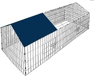 Deuba Jaula para conejos y pequeños animales conejera 180 x 175 cm cercado de acero cincado protección contra el sol