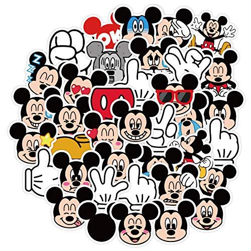 YOUKU Pegatina de Mickey Mouse para Equipaje, Cuaderno, Guitarra, Ordenador, Tableta, teléfono, Pegatinas Impermeables, 40 Hojas