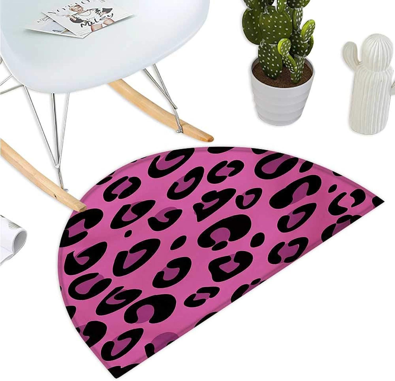 Hot Pink Semicircular Cushion Leopard Animal Skin Pattern in Abstract Style Wild Safari Jungle Theme Entry Door Mat H 47.2  xD 70.8  Pink Fuchsia Black