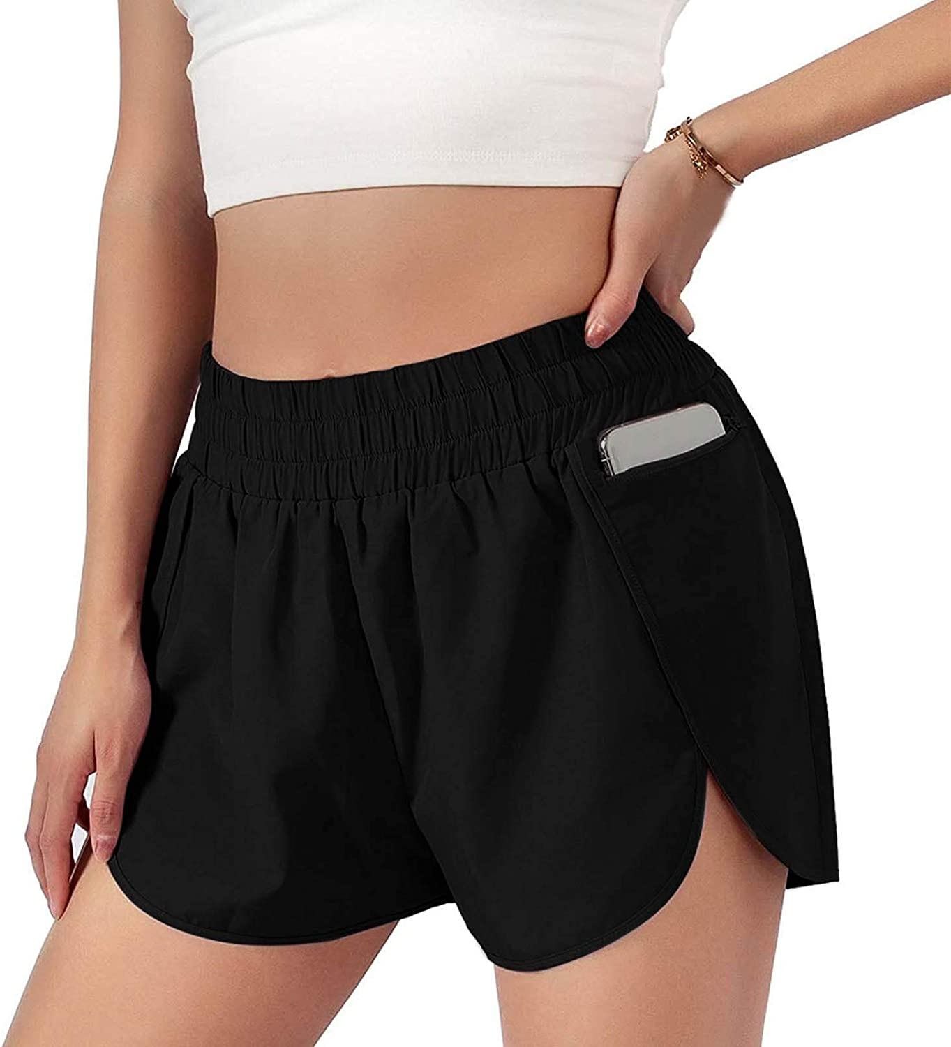 JWIN Workout Shorts Women Sporty Running Elastic Waist Shorts Gym Athletic Quick-Dry Yoga Active Shorts with Zipper Pocket