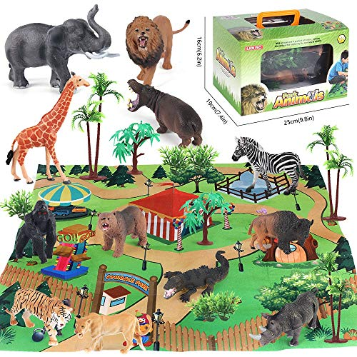 Safari Animals Figurines Toys, Activity Play Mat & Trees, 24 Piece Realistic Large Plastic Animals Figurines Jungle Wild Zoo Playset with Brown bear, Tiger, Elephant, Giraffe for Kids, Boys & Girls