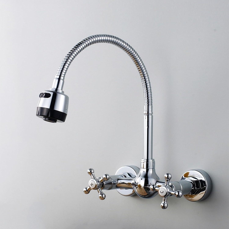 MoMo Volles Kupfer Doppel in die Wand von Kaltem und Wasserhahn Wasserhahn Becken Wasserhahn Universal Tpfe Führt