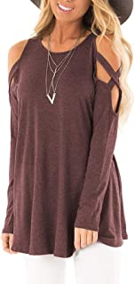 LONGDAY T-Shirt Casual Soft Knot SideWomen's Open Cold Shoulder Stretch Long Sleeve Tee Shirt Casual Blouse Top