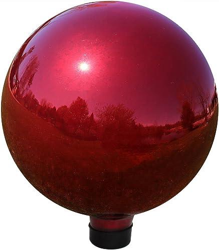 discount Sunnydaze Gazing Globe Glass Mirror Ball, 10 Inch, Stainless popular wholesale Steel Red online sale