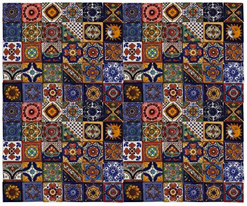 Salazar - 120 mexikanische Fliesen 5 x 5 cm Talavera Badezimmer- und Küchenfliesen Dekoration für Badezimmer, Dusche, Treppen, Küchenrückwand, Zementfliesen, marokkanische Designs