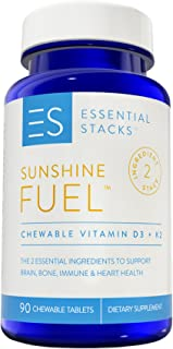 Vitamin D3 K2-2000 IU Vitamin D with K2 (75 mcg) Combination Designed to Support Vitamin D Absorption - 90 Great Tasting Chewable Tablets (3 Month Supply)