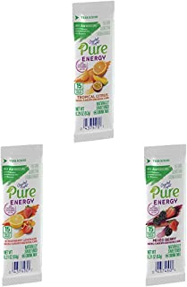 Crystal Light Pure Energy Tropical Citrus with Strawberry Lemonade & Mixed Berry Drink Mix (48 Packets, 8 Boxes of 6)