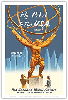 Pacifica Island Art Fly PAA to the USA - New York by Clipper - Pan American Airways - Atlas Statue at Rockefeller Center - Vintage Airline Travel Poster c.1955 - Master Art Print - 12in x 18in