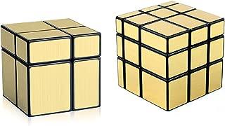 D-FantiX Shengshou Mirror Cube Set, 2x2 3x3 Mirror Blocks Bundle Puzzle Golden