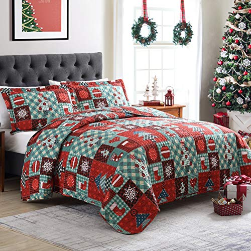 Tempcore Christmas Quilt,King Size Quilt,3 Piece King Quilt Set, Microfiber Lightweight Soft Bedspread Coverlet for All Season, King Printed Quilt(1 Quilt,2 Shams)