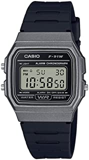 Casio Unisex Grey Dial Resin Band Watch - F-91WM-1BDF