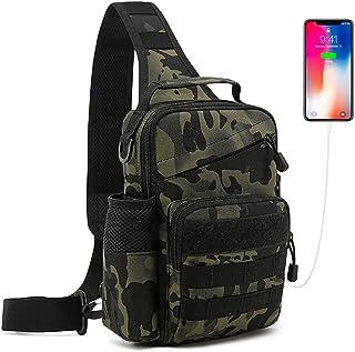 HUNTVP Taktisch Brusttasche Military Schultertasche mit Wasserflasche Halter Chest Sling Pack Molle Armee Crossbody Bag Mi...
