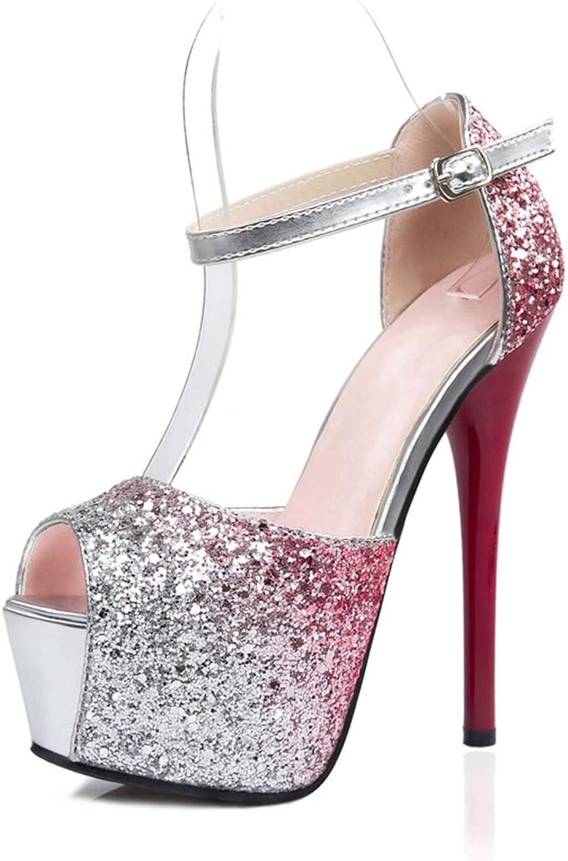 Kvinnors Glitter Plattformar Sandaler Ankle Strap Peep Toe Chunky Heel Dress Party skor